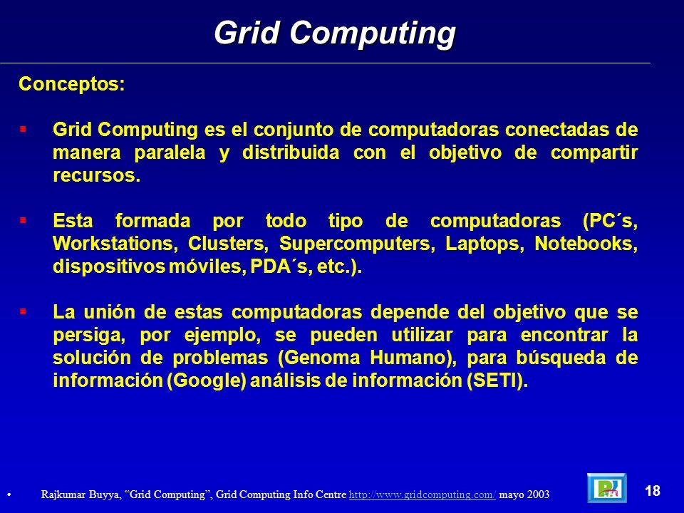 Conceptos: Grid Computing es el conjunto de computadoras conectadas de manera paralela y distribuida con el objetivo de compartir recursos.