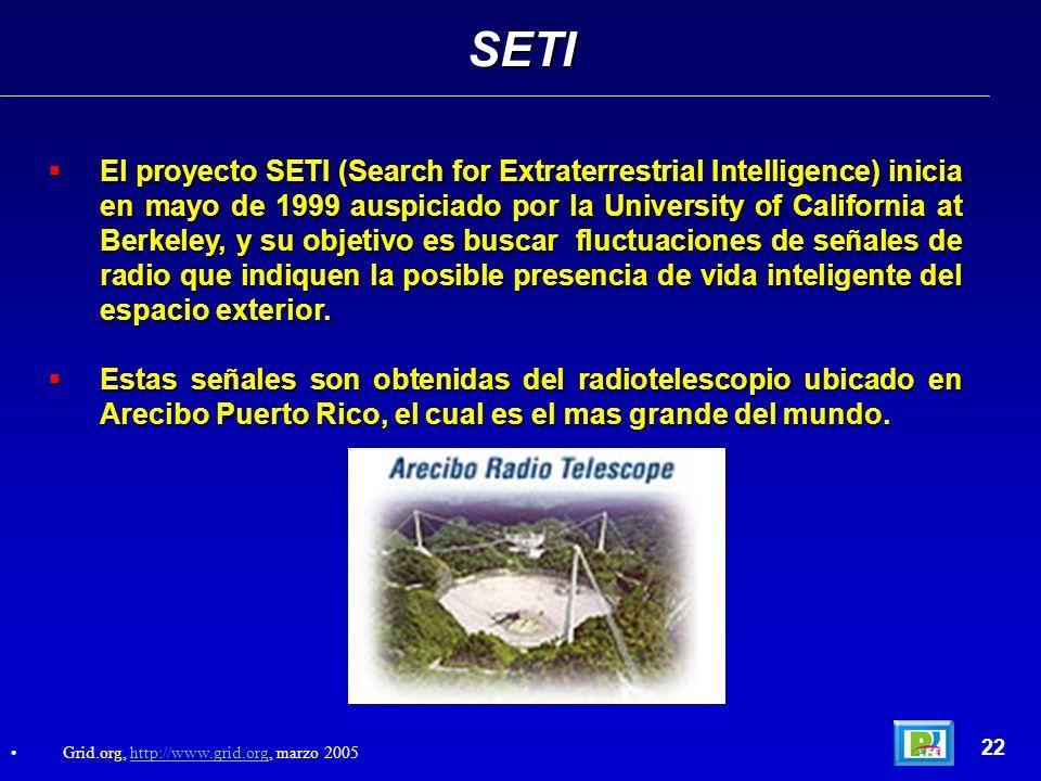 22 El proyecto SETI (Search for Extraterrestrial Intelligence) inicia en mayo de 1999 auspiciado por la University of California at Berkeley, y su objetivo es buscar fluctuaciones de señales de radio que indiquen la posible presencia de vida inteligente del espacio exterior.