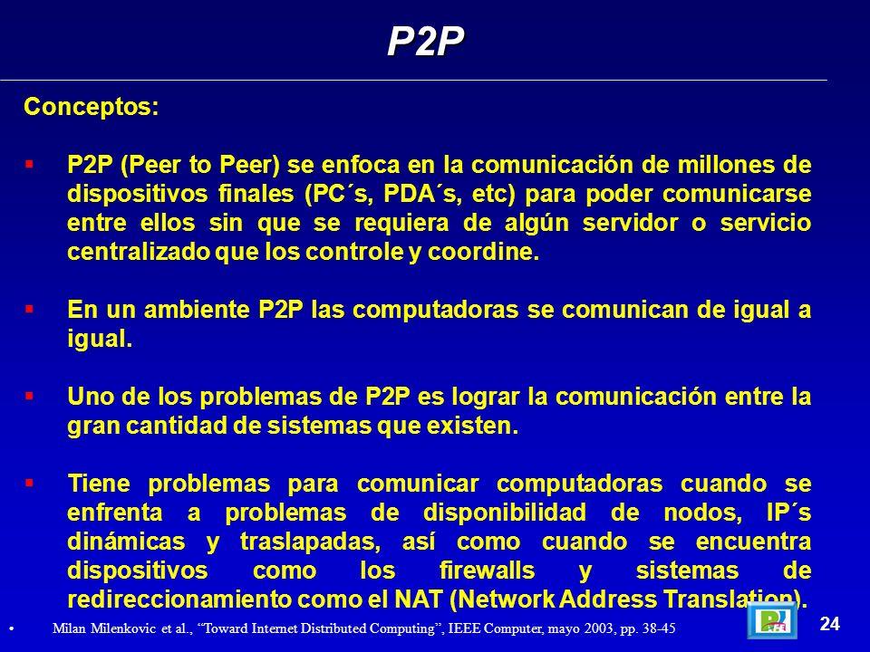 Conceptos: P2P (Peer to Peer) se enfoca en la comunicación de millones de dispositivos finales (PC´s, PDA´s, etc) para poder comunicarse entre ellos sin que se requiera de algún servidor o servicio centralizado que los controle y coordine.