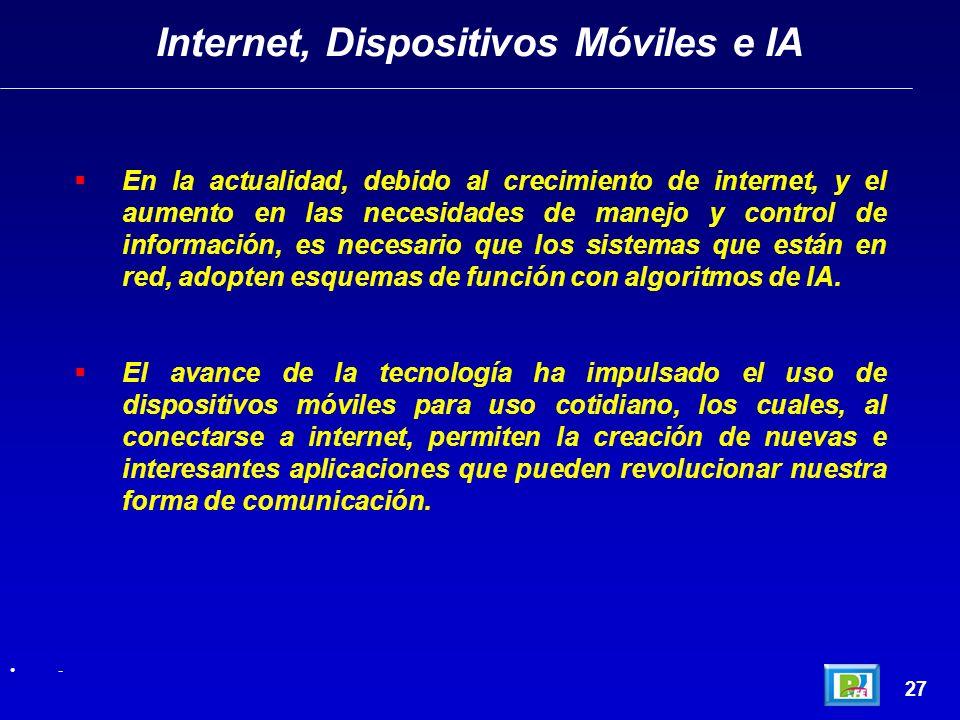 27 - Internet, Dispositivos Móviles e IA En la actualidad, debido al crecimiento de internet, y el aumento en las necesidades de manejo y control de información, es necesario que los sistemas que están en red, adopten esquemas de función con algoritmos de IA.