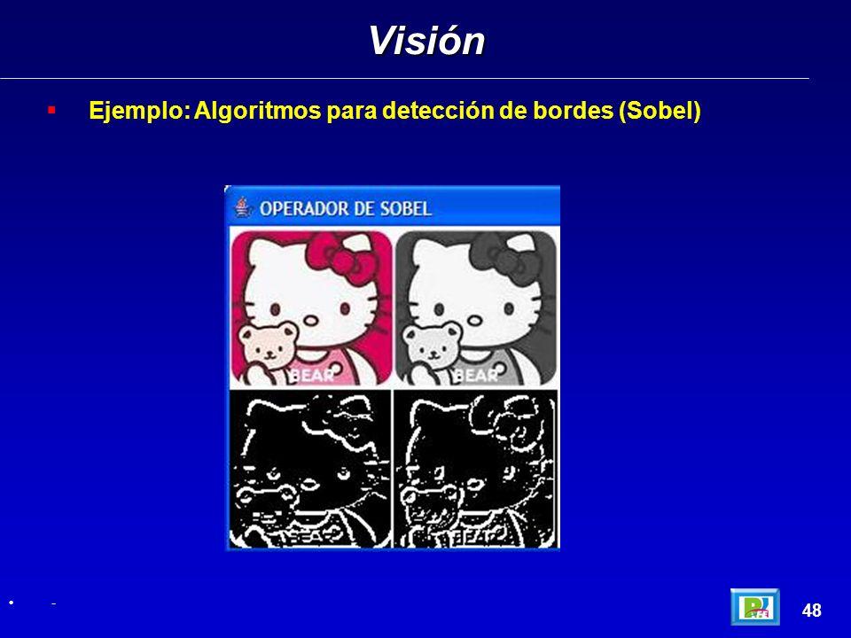Ejemplo: Algoritmos para detección de bordes (Sobel) Visión 48 -