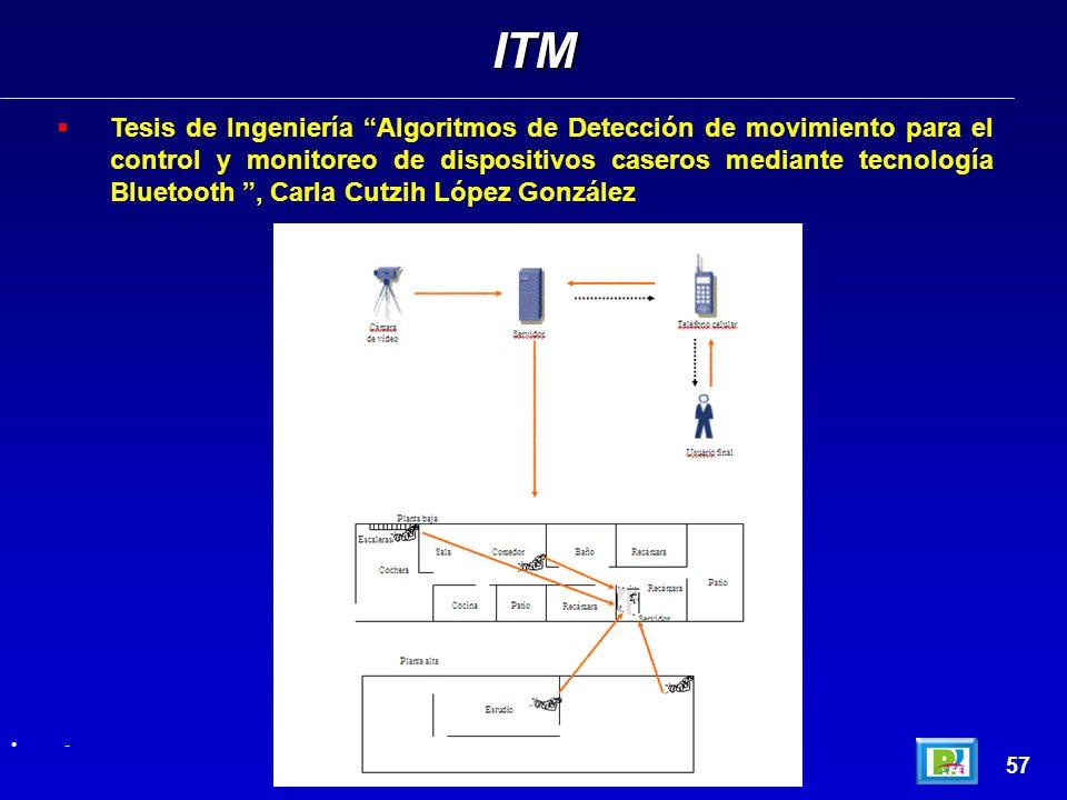 Tesis de Ingeniería Algoritmos de Detección de movimiento para el control y monitoreo de dispositivos caseros mediante tecnología Bluetooth, Carla Cutzih López González ITM 57 -