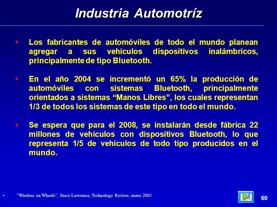 Los fabricantes de automóviles de todo el mundo planean agregar a sus vehículos dispositivos inalámbricos, principalmente de tipo Bluetooth.