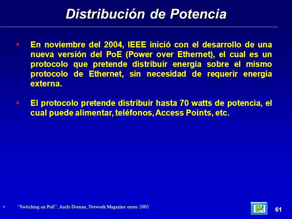 En noviembre del 2004, IEEE inició con el desarrollo de una nueva versión del PoE (Power over Ethernet), el cual es un protocolo que pretende distribuir energía sobre el mismo protocolo de Ethernet, sin necesidad de requerir energía externa.