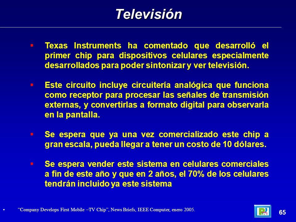 Texas Instruments ha comentado que desarrolló el primer chip para dispositivos celulares especialmente desarrollados para poder sintonizar y ver televisión.