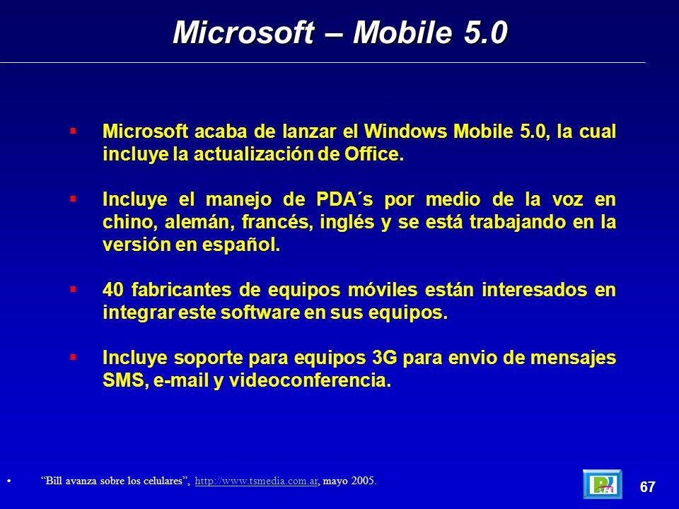 Microsoft acaba de lanzar el Windows Mobile 5.0, la cual incluye la actualización de Office.