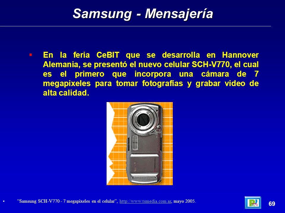 En la feria CeBIT que se desarrolla en Hannover Alemania, se presentó el nuevo celular SCH-V770, el cual es el primero que incorpora una cámara de 7 megapixeles para tomar fotografías y grabar video de alta calidad.