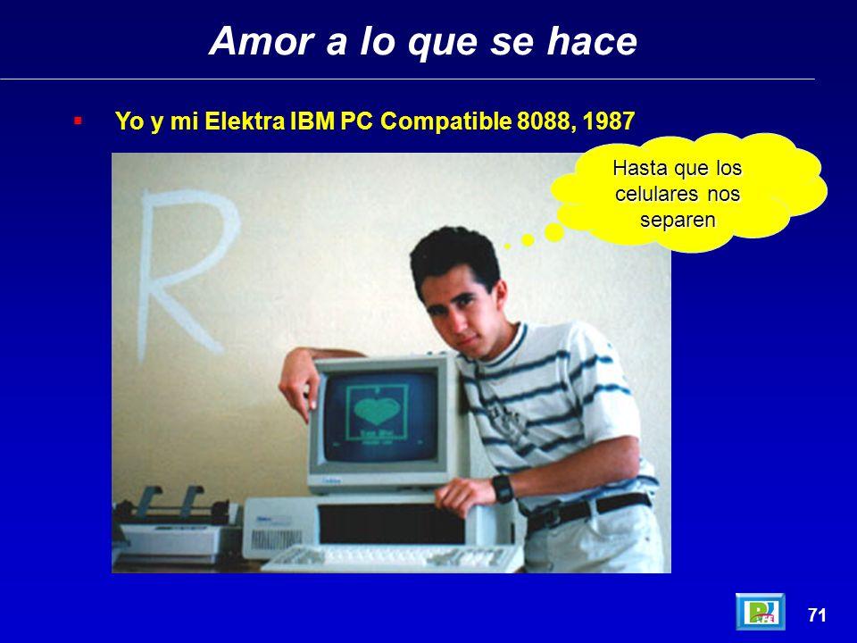 Amor a lo que se hace 71 Yo y mi Elektra IBM PC Compatible 8088, 1987 Hasta que los celulares nos separen