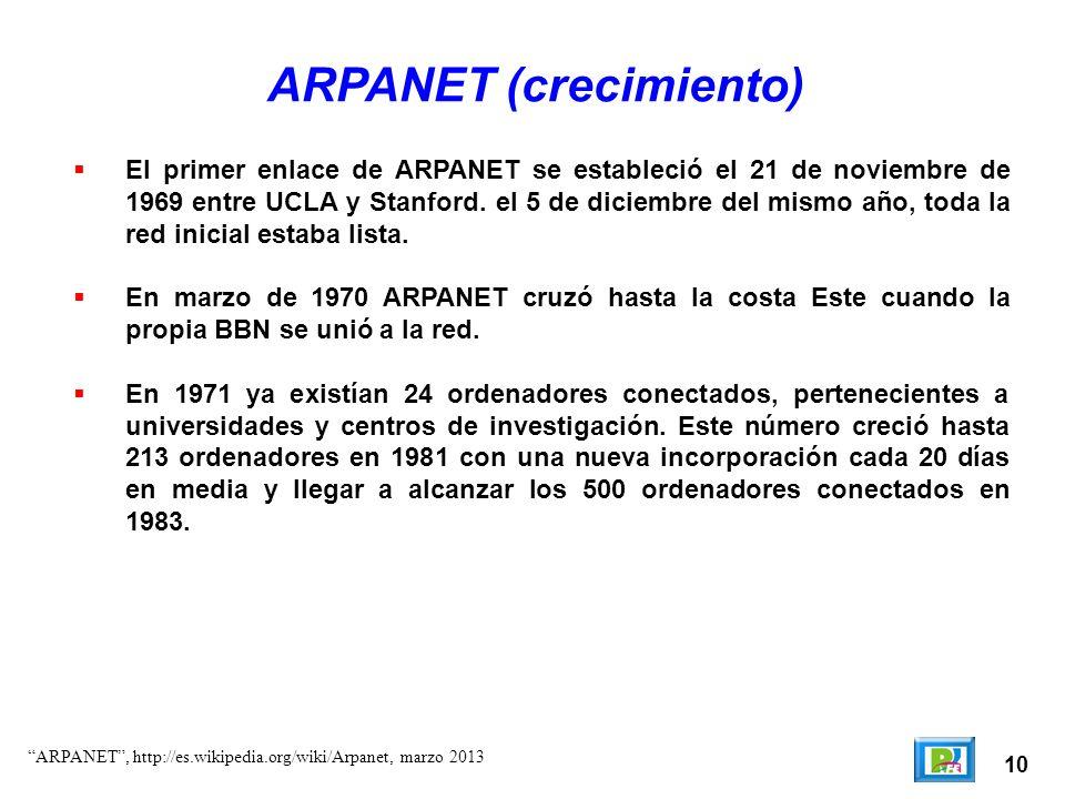 10 ARPANET (crecimiento) El primer enlace de ARPANET se estableció el 21 de noviembre de 1969 entre UCLA y Stanford. el 5 de diciembre del mismo año,