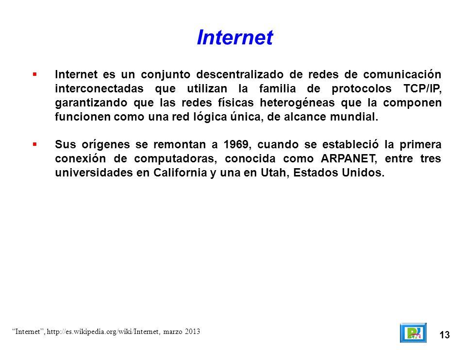 13 Internet Internet es un conjunto descentralizado de redes de comunicación interconectadas que utilizan la familia de protocolos TCP/IP, garantizand