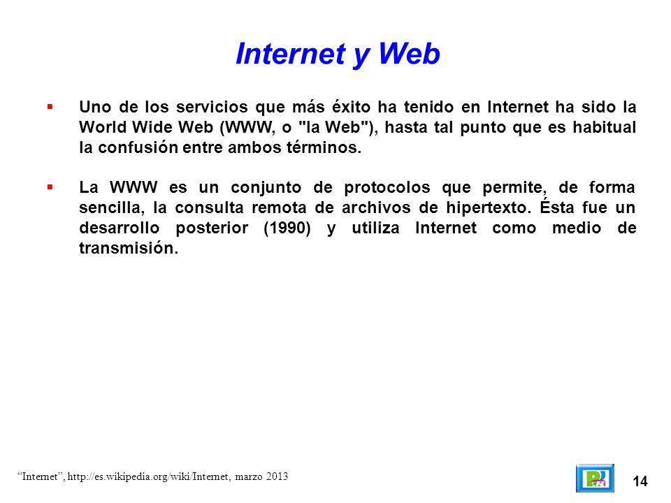 14 Internet y Web Uno de los servicios que más éxito ha tenido en Internet ha sido la World Wide Web (WWW, o