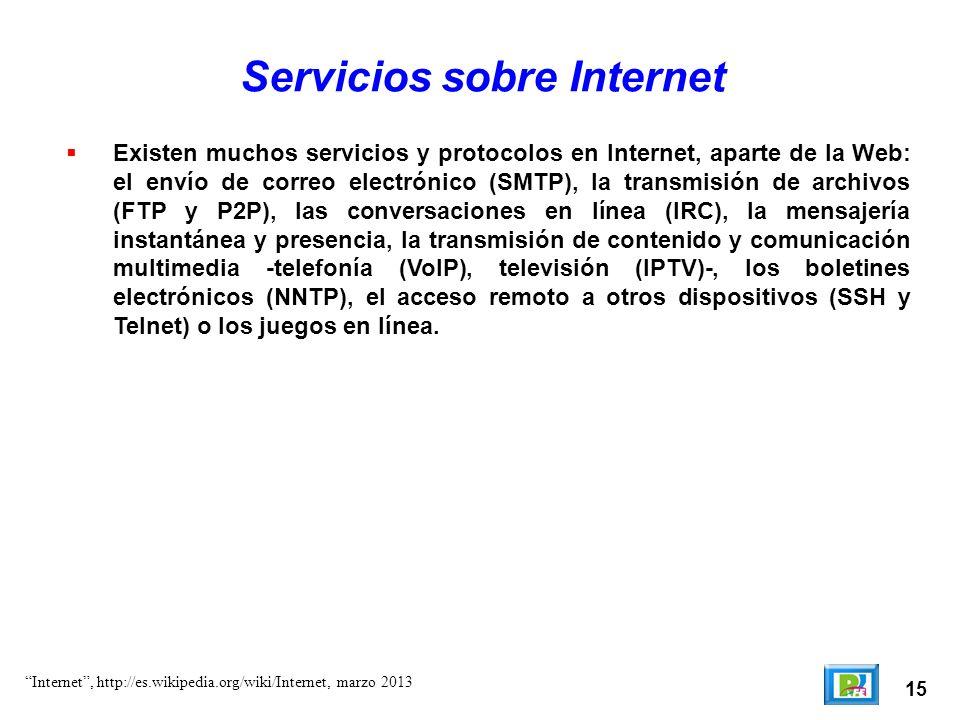 15 Servicios sobre Internet Existen muchos servicios y protocolos en Internet, aparte de la Web: el envío de correo electrónico (SMTP), la transmisión