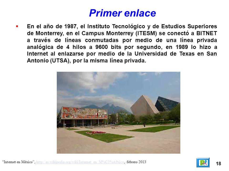 18 Internet en México, http://es.wikipedia.org/wiki/Internet_en_M%C3%A9xico, febrero 2013http://es.wikipedia.org/wiki/Internet_en_M%C3%A9xico Primer e
