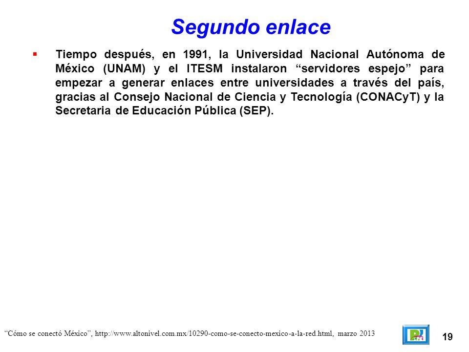 19 Cómo se conectó México, http://www.altonivel.com.mx/10290-como-se-conecto-mexico-a-la-red.html, marzo 2013 Segundo enlace Tiempo después, en 1991,