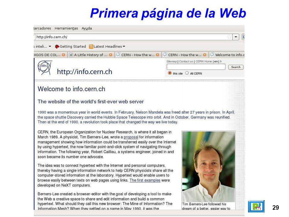 29 Primera página de la Web
