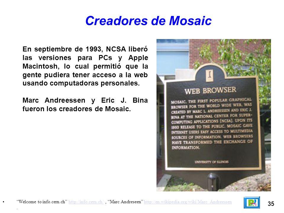 35 Welcome to info.cern.ch http://info.cern.ch/, Marc Andreseen http://en.wikipedia.org/wiki/Marc_Andreessen.http://info.cern.ch/http://en.wikipedia.o