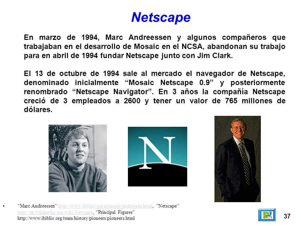 37 Marc Andreessen http://www.ibiblio.org/pioneers/andreesen.html, Netscape http://en.wikipedia.org/wiki/Netscape, Principal Figures http://www.ibibli