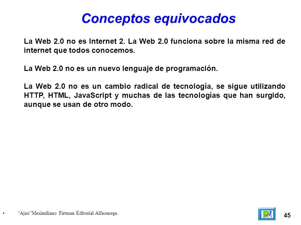 La Web 2.0 no es Internet 2. La Web 2.0 funciona sobre la misma red de internet que todos conocemos. La Web 2.0 no es un nuevo lenguaje de programació