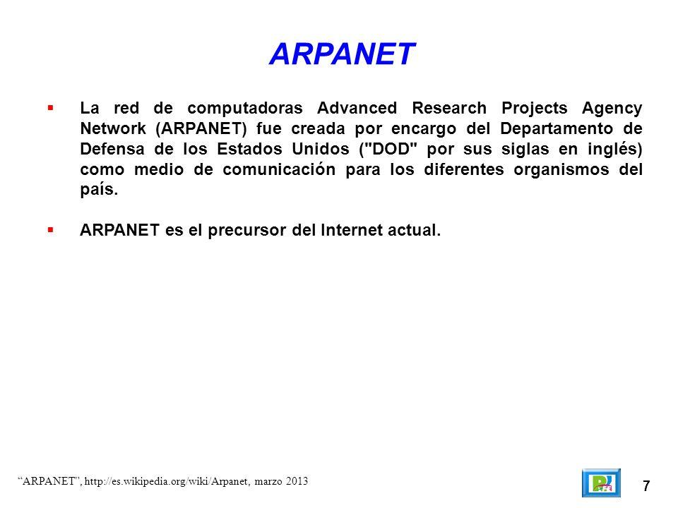 8 ARPANET (inicio) La ARPANET inicial consistía en cuatro nodos instalados en: – UCLA, donde Kleinrock creó el Centro de medición de red.