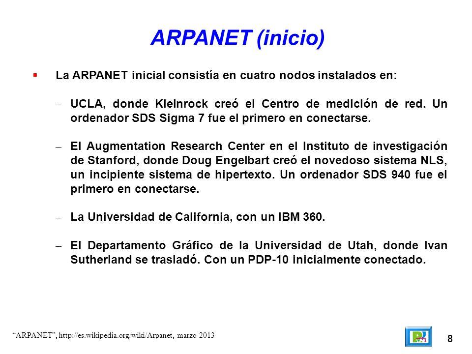 8 ARPANET (inicio) La ARPANET inicial consistía en cuatro nodos instalados en: – UCLA, donde Kleinrock creó el Centro de medición de red. Un ordenador