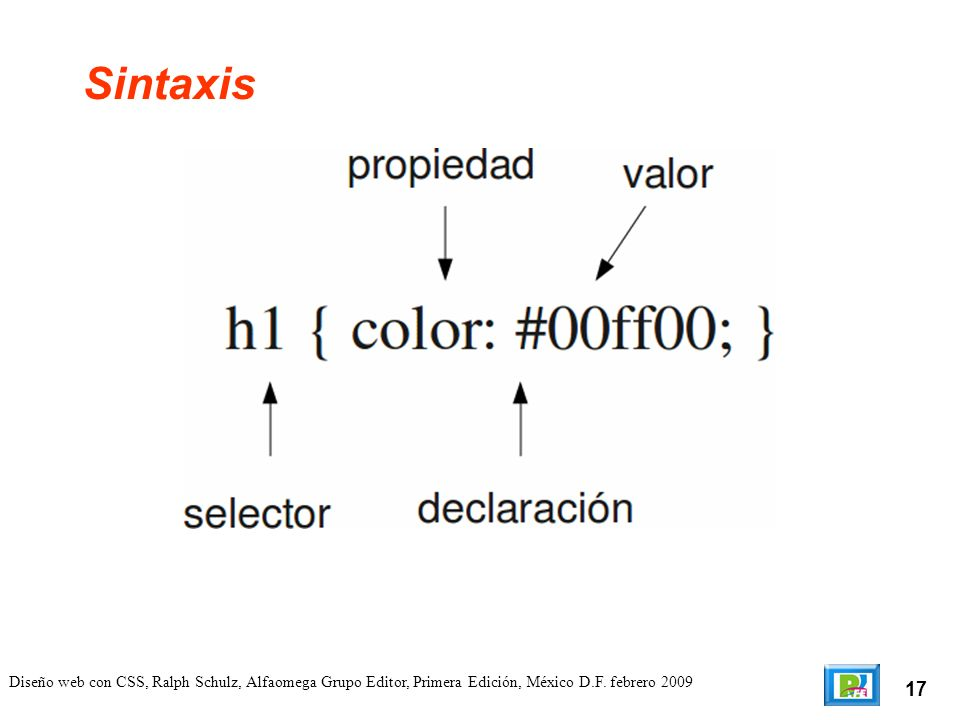 17 Diseño web con CSS, Ralph Schulz, Alfaomega Grupo Editor, Primera Edición, México D.F. febrero 2009 Sintaxis