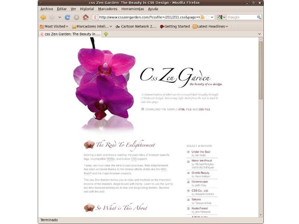 8 Hojas de estilo cascada, http://es.wikipedia.org/wiki/Css, mayo 2010 Tipos de CSS CSS proporciona tres caminos diferentes para aplicar las reglas de estilo a una página Web: – Un estilo en línea.