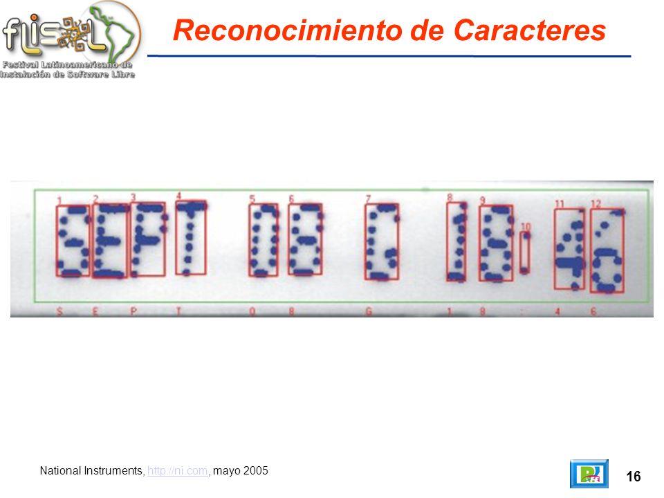 16 Reconocimiento de Caracteres National Instruments, http://ni.com, mayo 2005http://ni.com