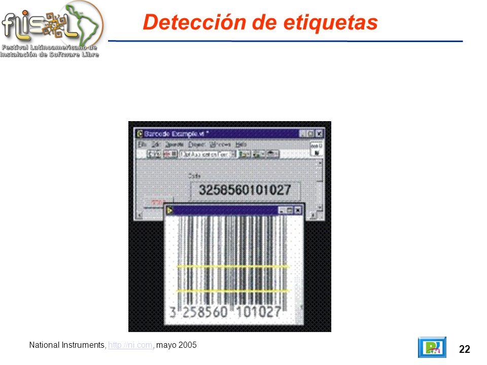 22 Detección de etiquetas National Instruments, http://ni.com, mayo 2005http://ni.com