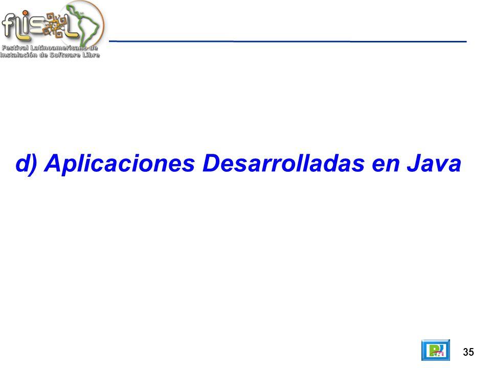 35 d) Aplicaciones Desarrolladas en Java