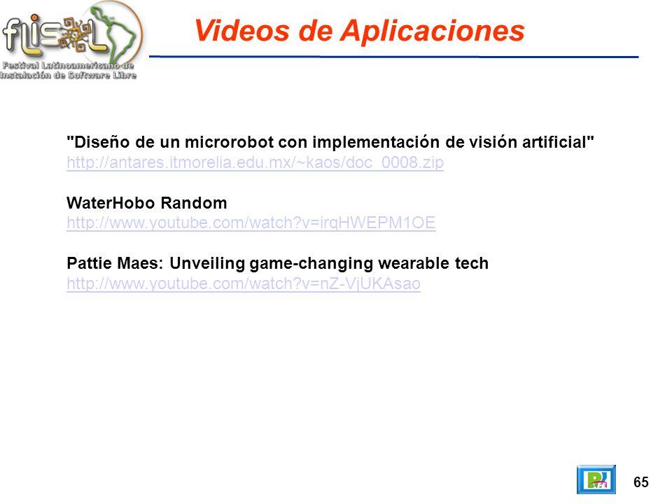 65 Videos de Aplicaciones Diseño de un microrobot con implementación de visión artificial http://antares.itmorelia.edu.mx/~kaos/doc_0008.zip WaterHobo Random http://www.youtube.com/watch v=irqHWEPM1OE Pattie Maes: Unveiling game-changing wearable tech http://www.youtube.com/watch v=nZ-VjUKAsao