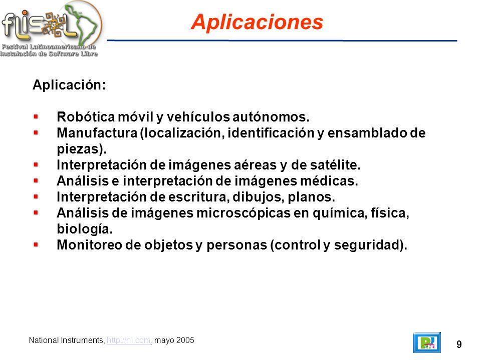 9 Aplicaciones National Instruments, http://ni.com, mayo 2005http://ni.com Aplicación: Robótica móvil y vehículos autónomos.