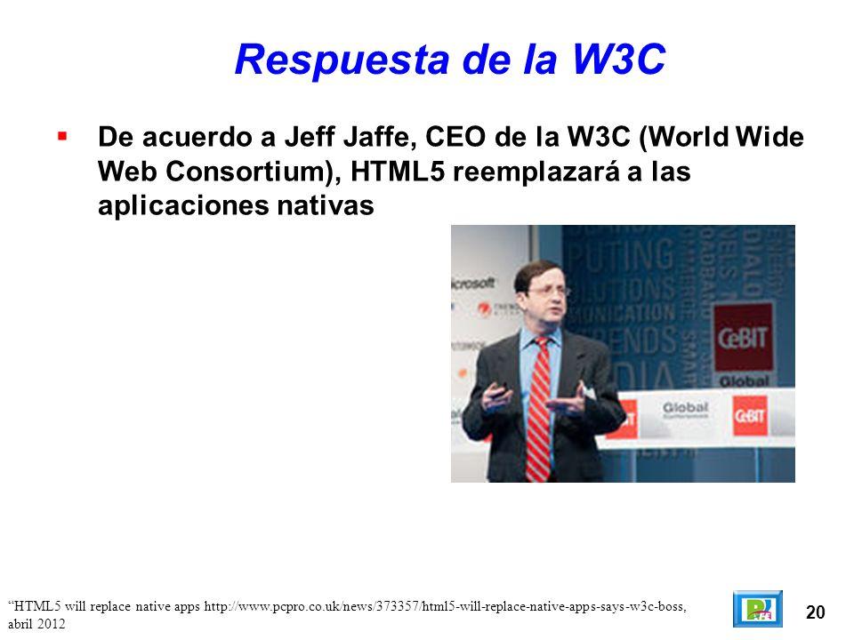 20 Respuesta de la W3C De acuerdo a Jeff Jaffe, CEO de la W3C (World Wide Web Consortium), HTML5 reemplazará a las aplicaciones nativas HTML5 will replace native apps http://www.pcpro.co.uk/news/373357/html5-will-replace-native-apps-says-w3c-boss, abril 2012