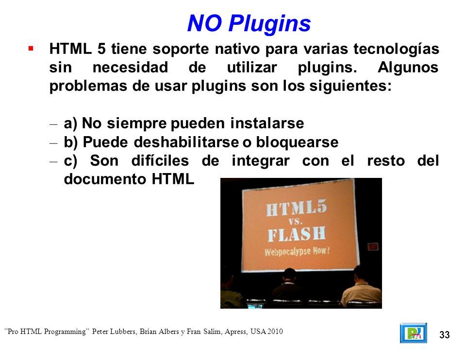 33 Pro HTML Programming Peter Lubbers, Brian Albers y Fran Salim, Apress, USA 2010 NO Plugins HTML 5 tiene soporte nativo para varias tecnologías sin necesidad de utilizar plugins.