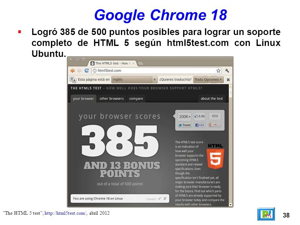 38 Google Chrome 18 Logró 385 de 500 puntos posibles para lograr un soporte completo de HTML 5 según html5test.com con Linux Ubuntu.