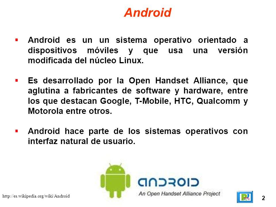 2 http://es.wikipedia.org/wiki/Android Android Android es un un sistema operativo orientado a dispositivos móviles y que usa una versión modificada de