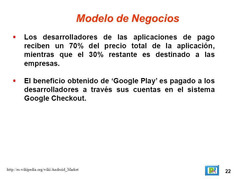 22 http://es.wikipedia.org/wiki/Android_Market Modelo de Negocios Los desarrolladores de las aplicaciones de pago reciben un 70% del precio total de l