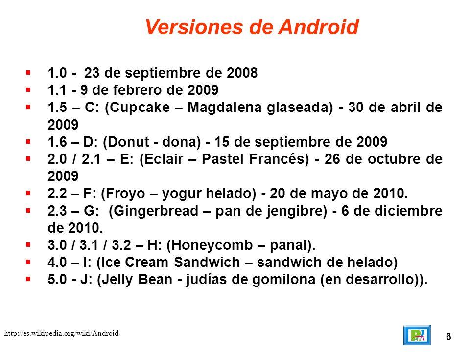 6 http://es.wikipedia.org/wiki/Android Versiones de Android 1.0 - 23 de septiembre de 2008 1.1 - 9 de febrero de 2009 1.5 – C: (Cupcake – Magdalena gl