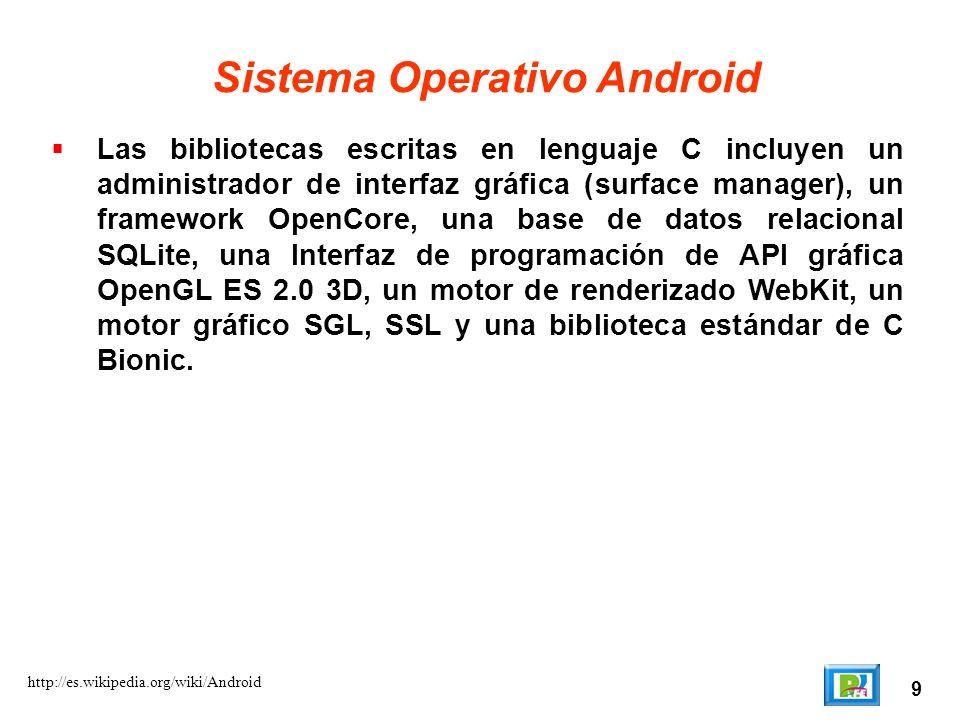 9 http://es.wikipedia.org/wiki/Android Sistema Operativo Android Las bibliotecas escritas en lenguaje C incluyen un administrador de interfaz gráfica