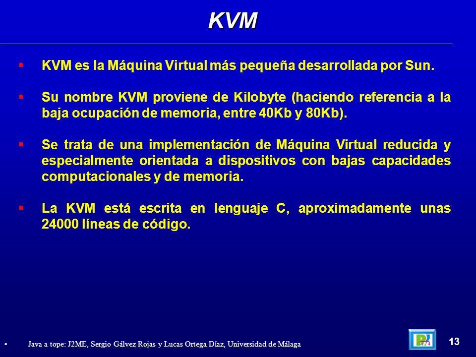 KVM es la Máquina Virtual más pequeña desarrollada por Sun. Su nombre KVM proviene de Kilobyte (haciendo referencia a la baja ocupación de memoria, en