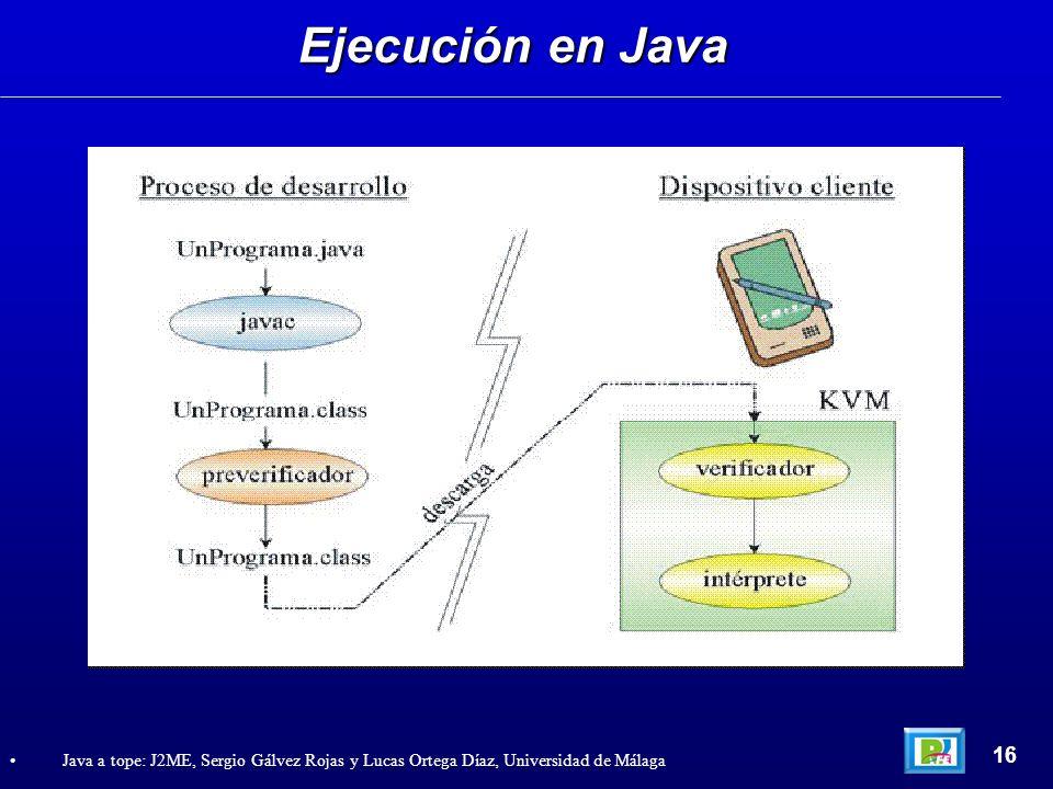 Ejecución en Java 16 Java a tope: J2ME, Sergio Gálvez Rojas y Lucas Ortega Díaz, Universidad de Málaga