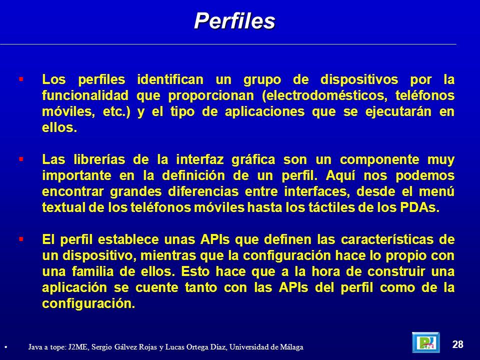 Los perfiles identifican un grupo de dispositivos por la funcionalidad que proporcionan (electrodomésticos, teléfonos móviles, etc.) y el tipo de apli