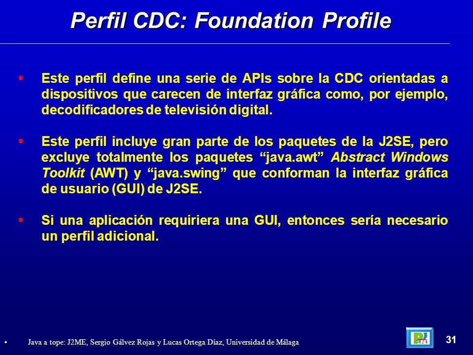 Este perfil define una serie de APIs sobre la CDC orientadas a dispositivos que carecen de interfaz gráfica como, por ejemplo, decodificadores de tele