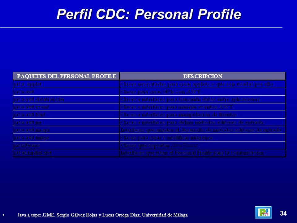 Perfil CDC: Personal Profile 34 Java a tope: J2ME, Sergio Gálvez Rojas y Lucas Ortega Díaz, Universidad de Málaga