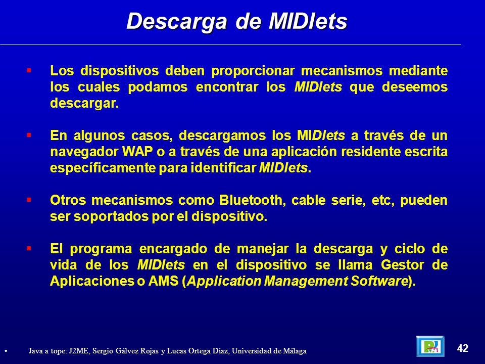 Los dispositivos deben proporcionar mecanismos mediante los cuales podamos encontrar los MIDlets que deseemos descargar. En algunos casos, descargamos
