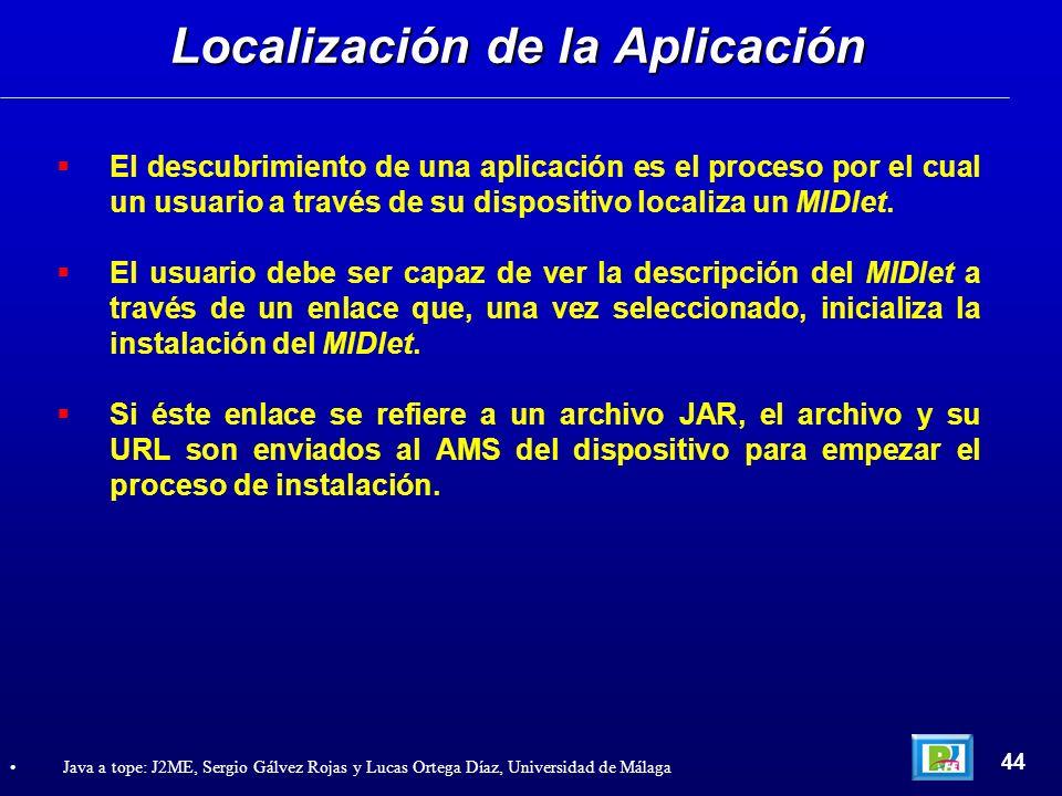 El descubrimiento de una aplicación es el proceso por el cual un usuario a través de su dispositivo localiza un MIDlet. El usuario debe ser capaz de v