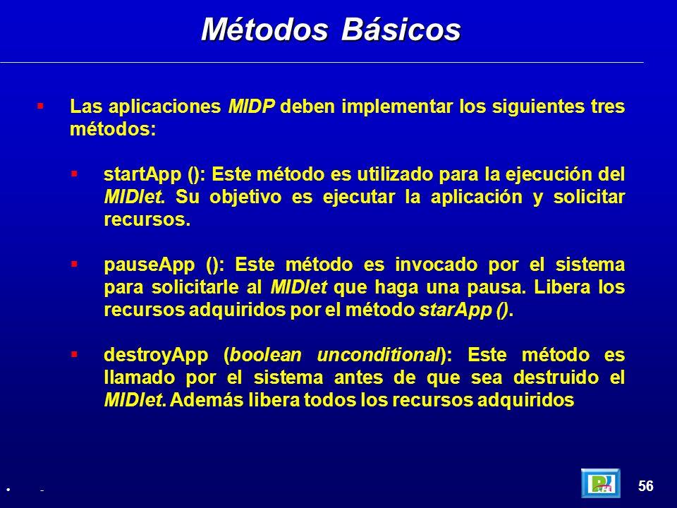 Las aplicaciones MIDP deben implementar los siguientes tres métodos: startApp (): Este método es utilizado para la ejecución del MIDlet. Su objetivo e
