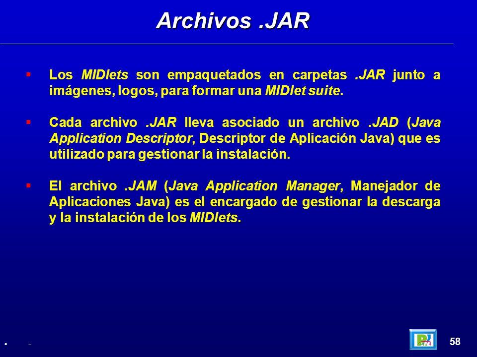 Los MIDlets son empaquetados en carpetas.JAR junto a imágenes, logos, para formar una MIDlet suite. Cada archivo.JAR lleva asociado un archivo.JAD (Ja