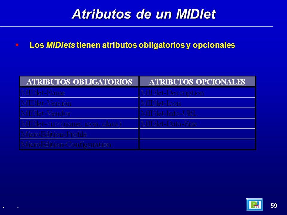 Los MIDlets tienen atributos obligatorios y opcionales Atributos de un MIDlet 59 -