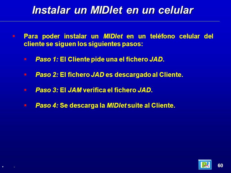 Para poder instalar un MIDlet en un teléfono celular del cliente se siguen los siguientes pasos: Paso 1: El Cliente pide una el fichero JAD. Paso 2: E