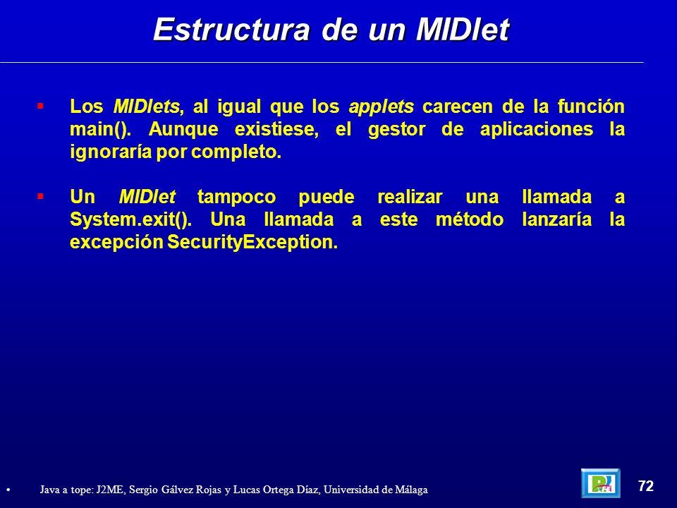Estructura de un MIDlet 72 Java a tope: J2ME, Sergio Gálvez Rojas y Lucas Ortega Díaz, Universidad de Málaga Los MIDlets, al igual que los applets car